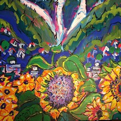 I use sunflowers as a metaphor for families The grandma mother kids and teenagers I generally don't paint people so the sunflowers and the association with Van Gogh works #heffelauctionhouse #southgranville #painted #portrait #painting #art #artgallery #b