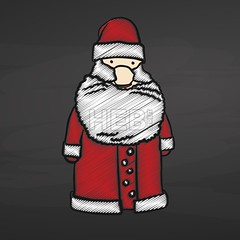 [Holidays & Seasonal]   Santa Claus Sketch on Chalkboard