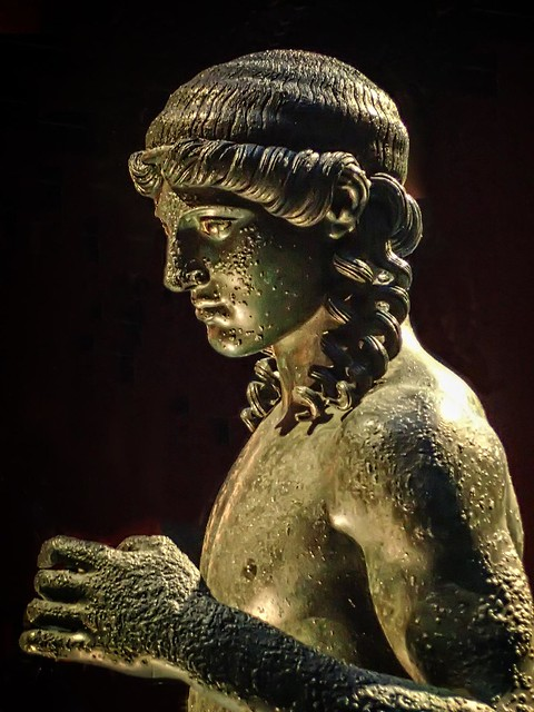 Another view of Apollo Citharist from the House of the Citharist in Pompeii, Italy 1st century BCE Bronze with bone inlaid eyes