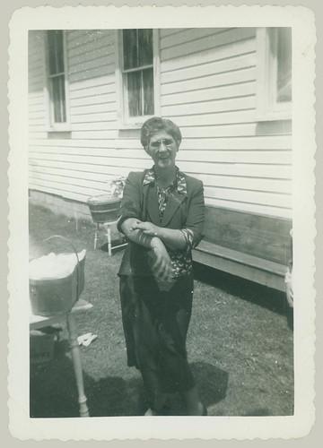 Woman in back yard
