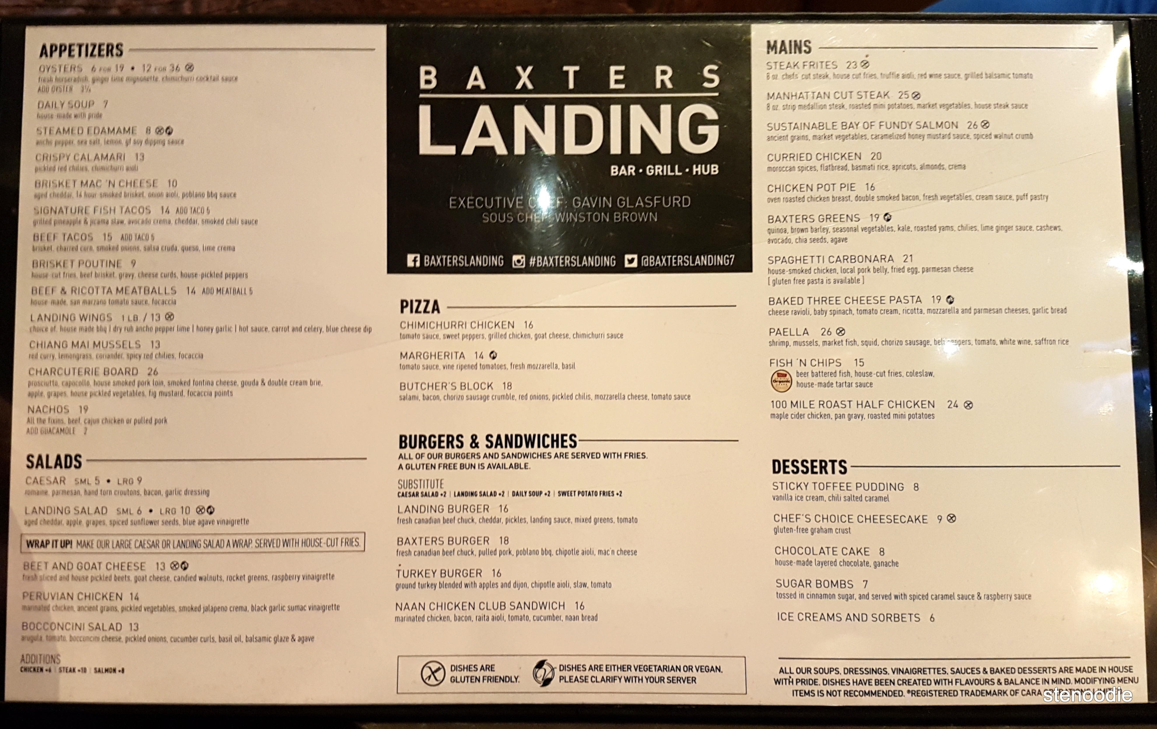 Baxters Landing dinner menu and prices