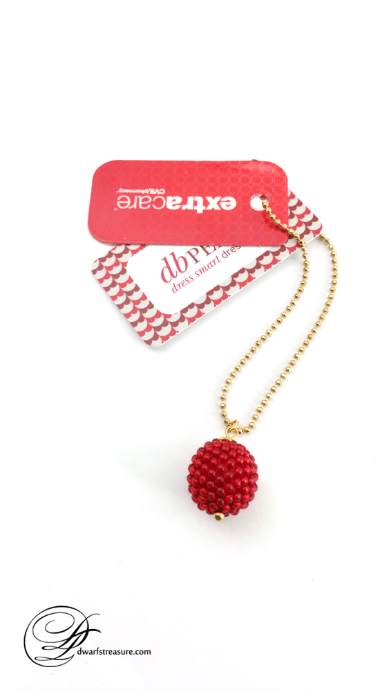 Perfect crimson glass bead ball charm card holder