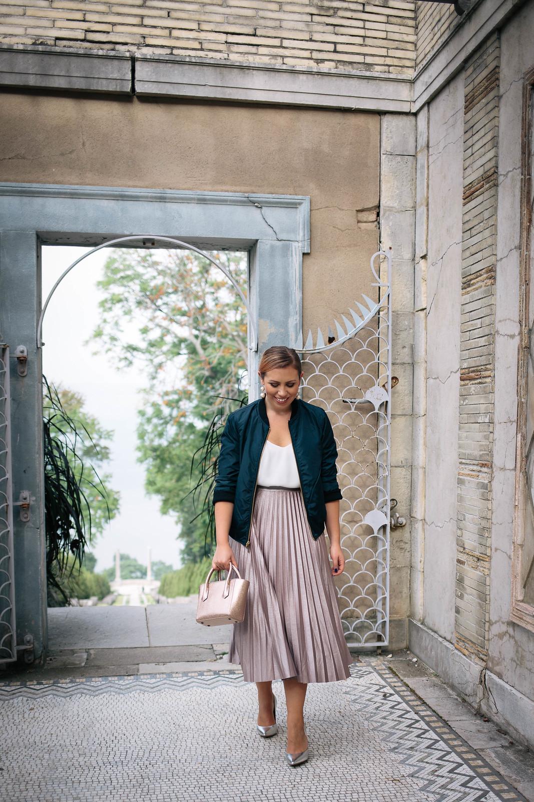 Holiday Outfit Style Jackie Giardina Living After Midnite Fashion Blogger Shiny Midi Skirt Navy Bomber Jacket