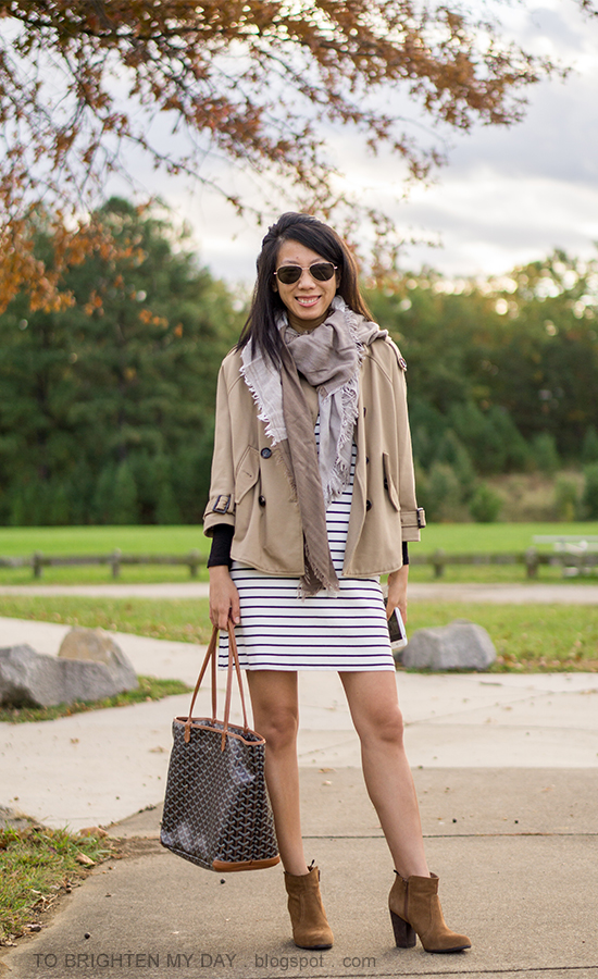 plaid scarf, camel trench cape, striped knit dress, monogrammed tote, brown suede ankle boots