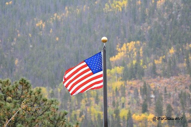 Old Glory and fall foliage along Colorado's Peak to Peak Highway. (Ed Dalton)