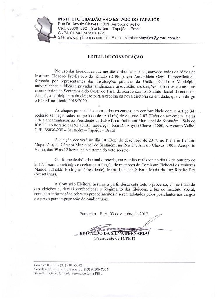 Eleição para nova diretoria do Instituto Cidadão Pró-Estado do Tapajós, Edital ICPET