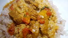 #101017 #almoço #file ao curry e arroz integral  #lunch #meat with curry and brown rice