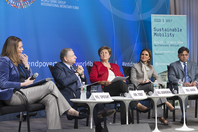 Thu, 10/12/2017 - 14:41 - October 12, 2017 - WASHINGTON, DC. World Bank / IMF 2017 Annual Meetings. Sustainable Mobility. Watch Event.  Kristalina Georgieva, CEO, World Bank; Michelle Yeoh, UN Ambassador And Actress; Jean Todt, President,  Fédération Internationale De L'automobile; Raj Rao, Ceo, Ford Smart Mobility LLC; Sahar Nasr, Minister Of Investment And International Cooperation, Egypt. Moderator: Helene Speight, Ambassador, Prince's Trust. Photo:  World Bank / Simone D. McCourtie  Photo ID: 101217-SustainableMobility-0065f