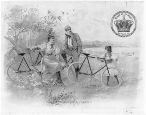 Family Outing on Bicycles 1896 (lithograph)