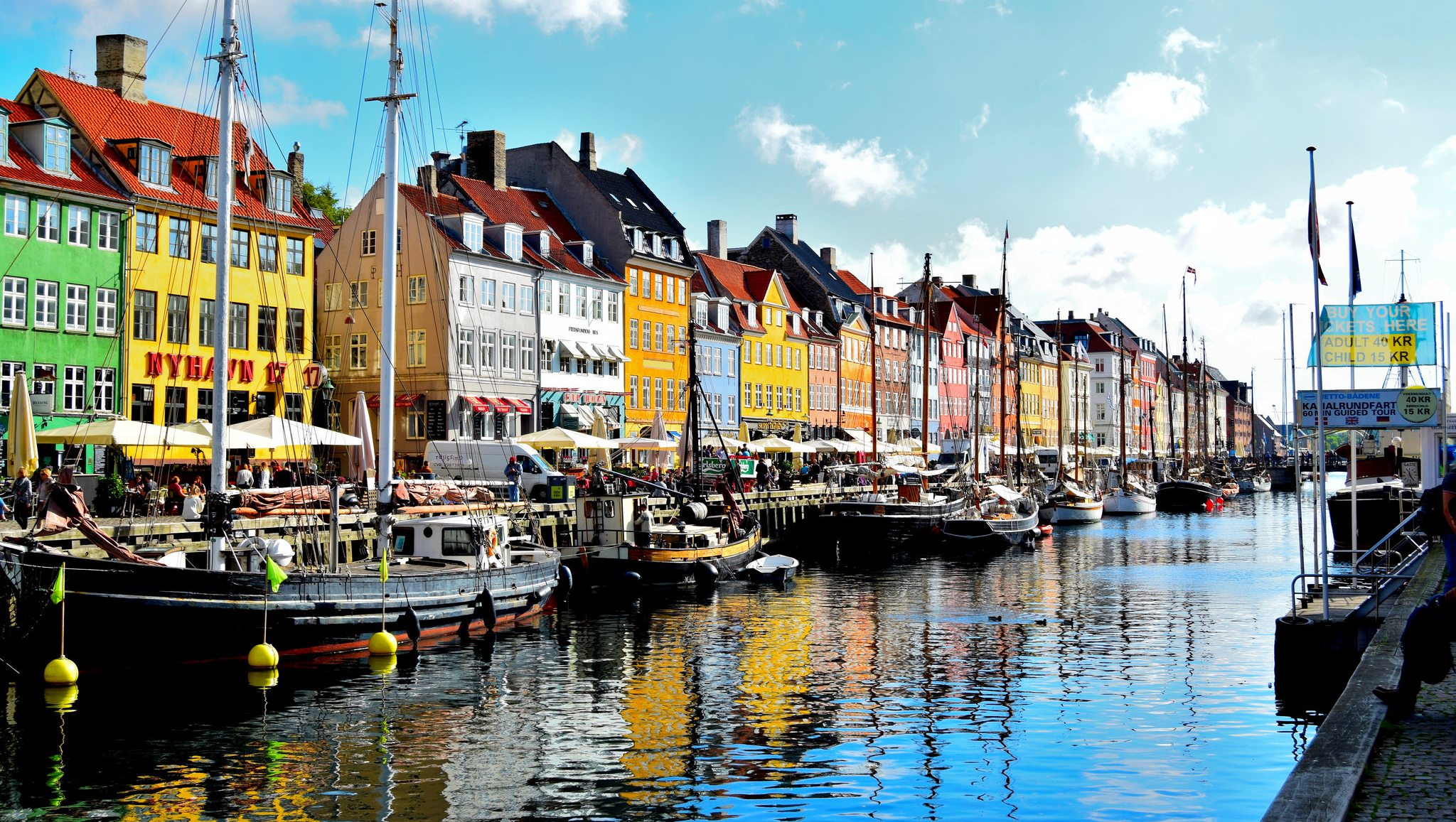 Colourful houses flank the river in the Nyhavn, Copenhagen