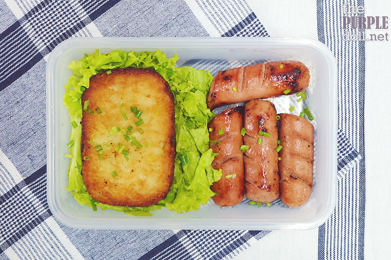Sausages, hash brown and greens