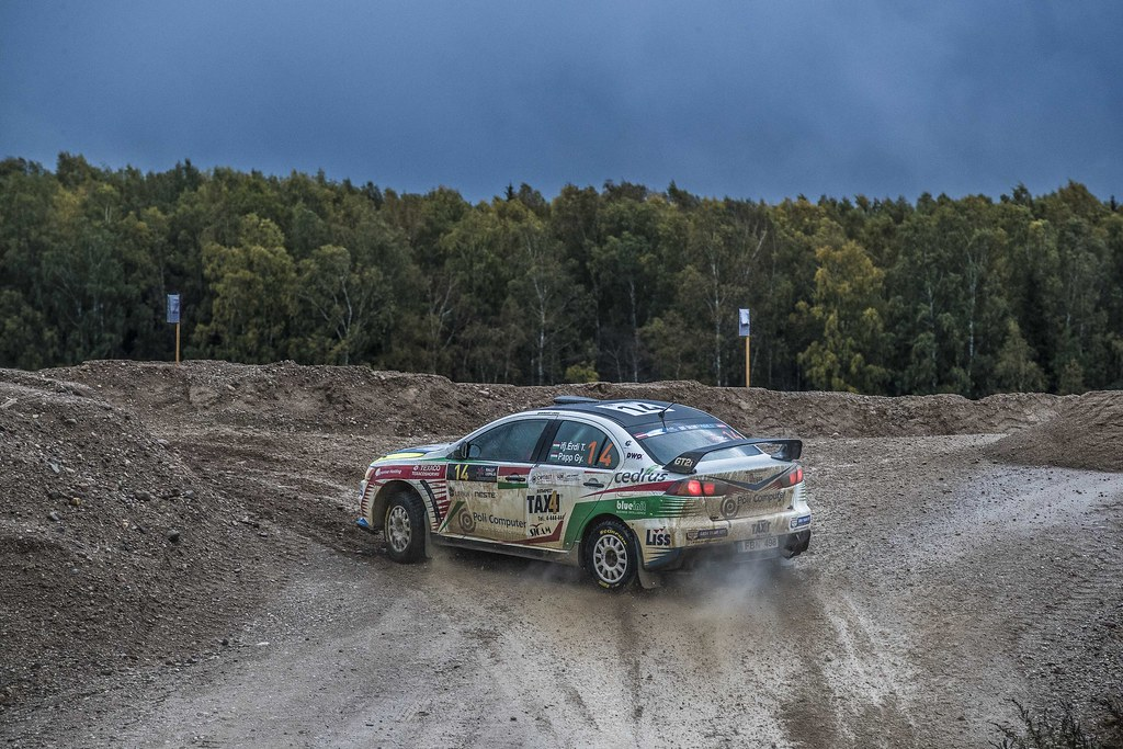 14 Erdi jun. Tibor and Papp Gyorgy, Mitsubishi Lancer Evo X action during the 2017 European Rally Championship ERC Liepaja rally,  from october 6 to 8, at Liepaja, Lettonie - Photo Gregory Lenormand / DPPI