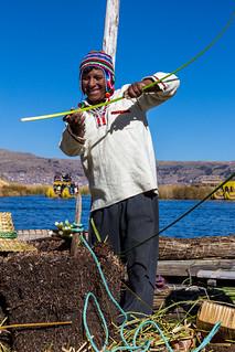Uru Worker, Lake Titicaca, Peru
