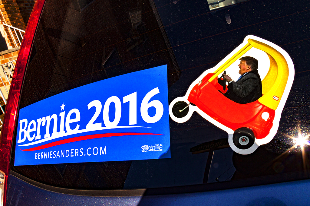 Trump in toy car and Bernie sticker--Passyunk Square