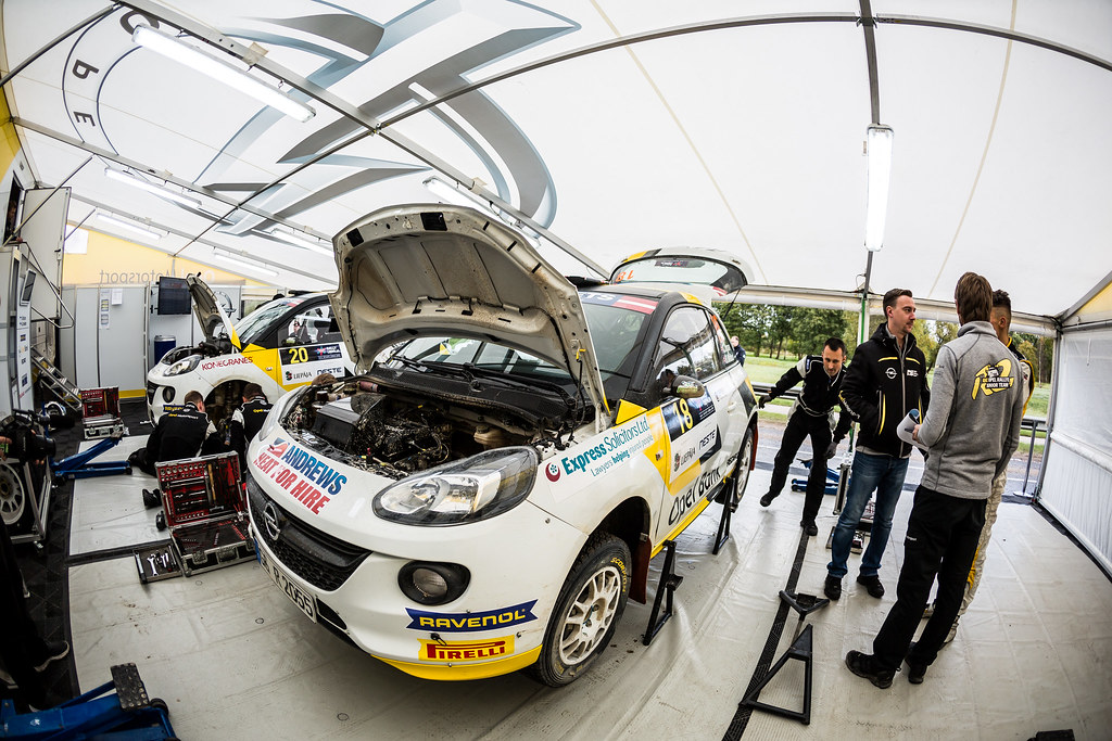 18 Ingram Chris and Whittock Ross, Opel Rallye Junior Team, Opel Adam R2 ERC Junior U27 service parc ambiance during the 2017 European Rally Championship ERC Liepaja rally,  from october 6 to 8, at Liepaja, Lettonie - Photo Thomas Fenetre / DPPI