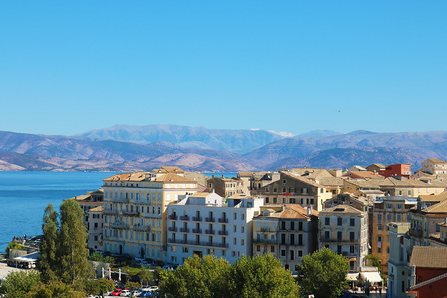 Old town corfu and mountains