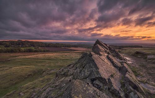 leicestershire leicester bradgatepark charnwoodborough oldjohn dawn sunrise viewpoint precambrian rocks england uk greatbritain moody