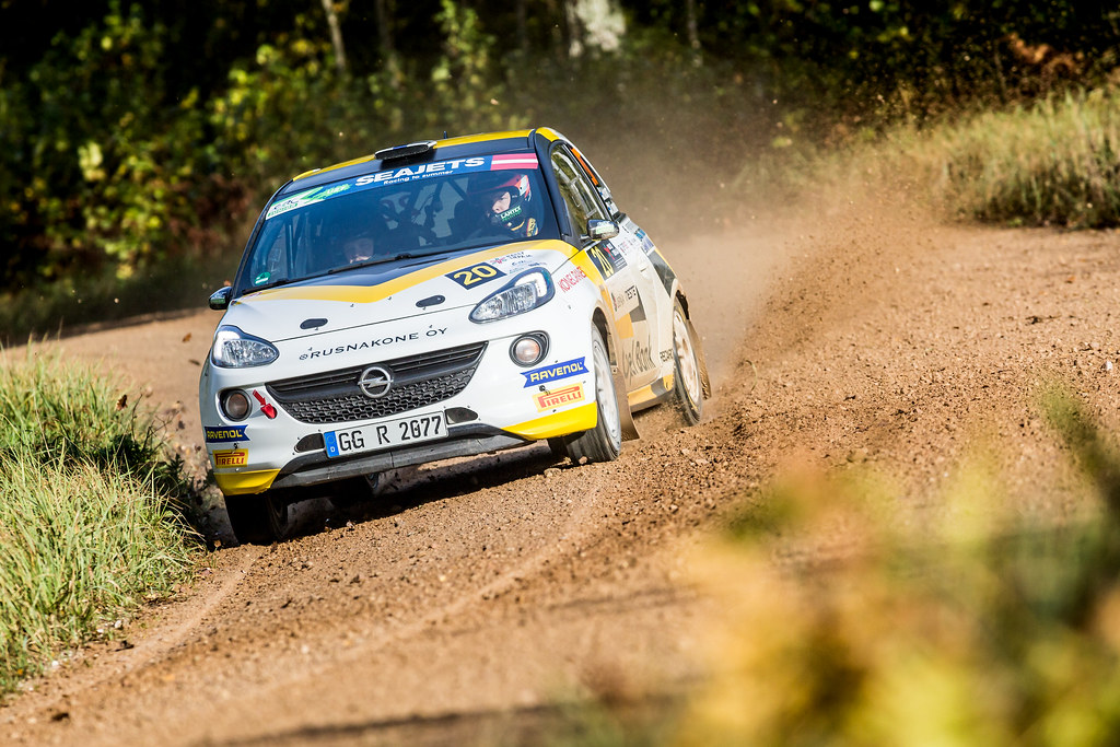 20 Huttunen Jari and Linnaketo Antti, ADAC Opel Rallye Junior Team, Opel Adam R2 ERC Junior U27 action during the 2017 European Rally Championship ERC Liepaja rally,  from october 6 to 8, at Liepaja, Lettonie - Photo Thomas Fenetre / DPPI