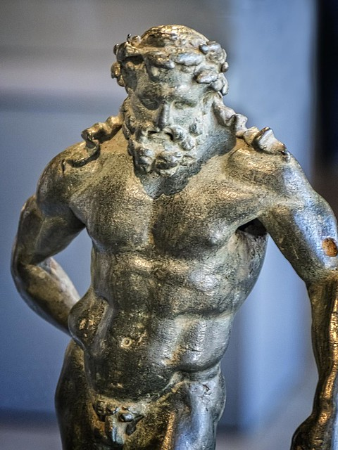 Closeup of Hercules Roman copy of a Greek original by Lysippos Mid-Late 1st century CE Bronze