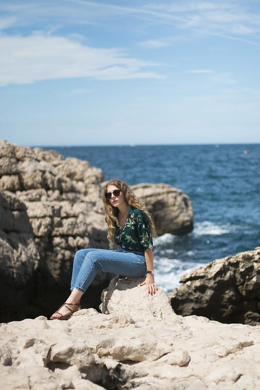 sur un rocher face à la mer