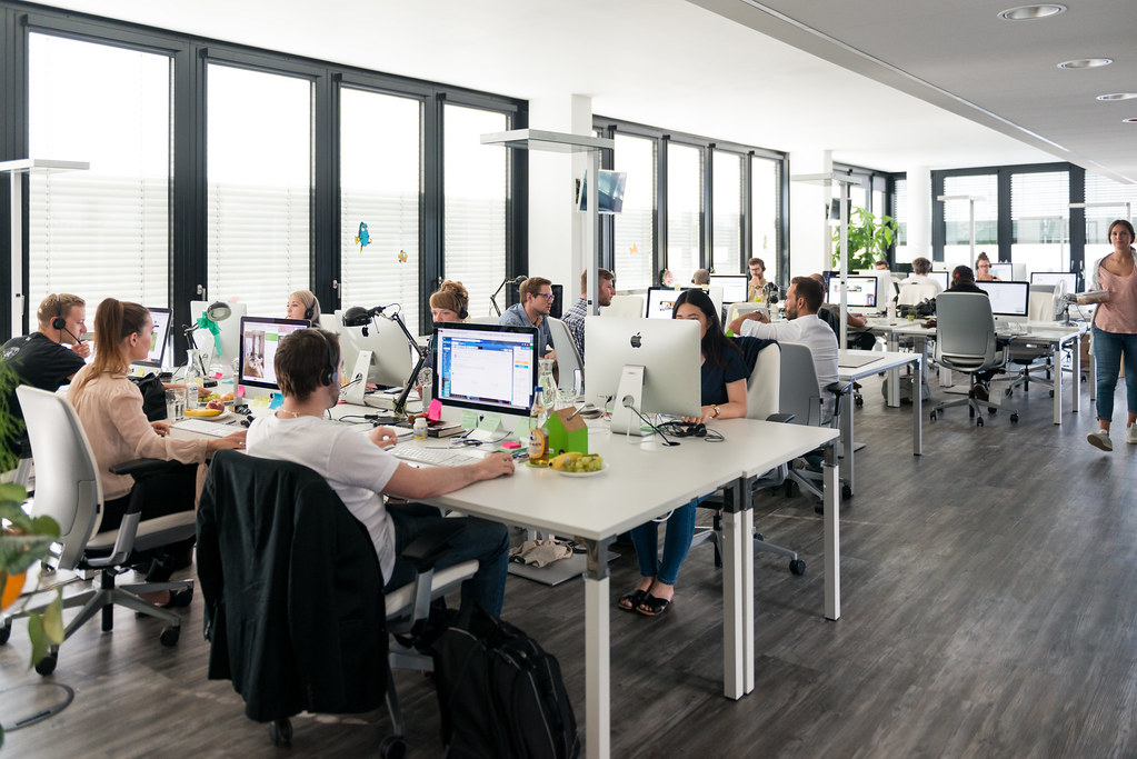 houzz office desk. The Open-plan Office Beyond Is Set Up Perfectly For Collaborating, With Wide Desks In Groups. Houzz Desk