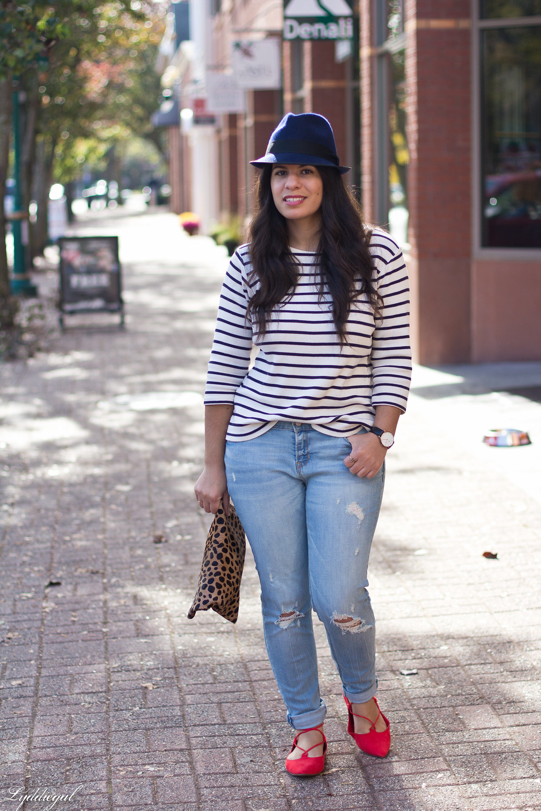 striped shirt, distressed jeans, red flats, navy fedora, leopard clutch-1