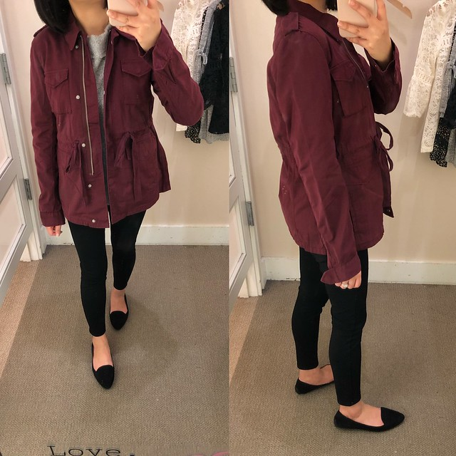 LOFT Sateen Utility Jacket in plum preserve, size XS regular
