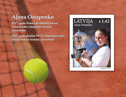 Pastmarkas bloks Latvijas sports - Aļona Ostapenko