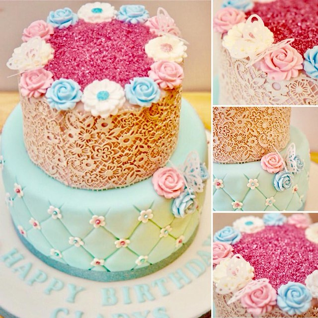 Petals & Lace Vintage Birthday Cake by Emmy Perry of The Flutterby Cake Co.