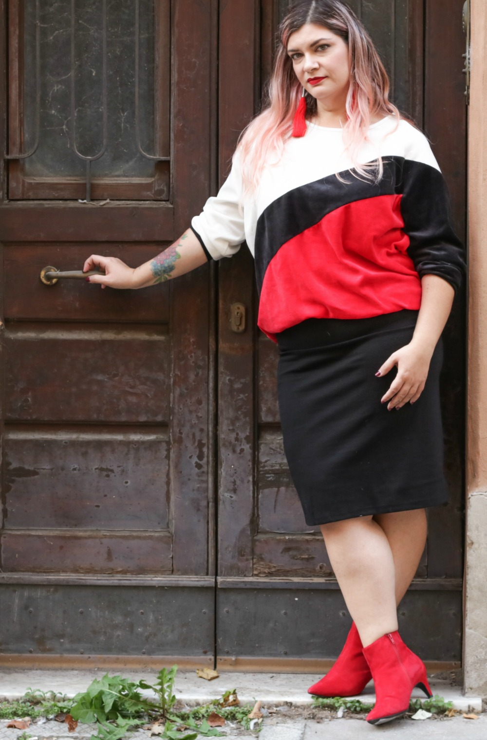 outfit plus size, kik taglie comode, cappotto handmade riot clothing space (9)