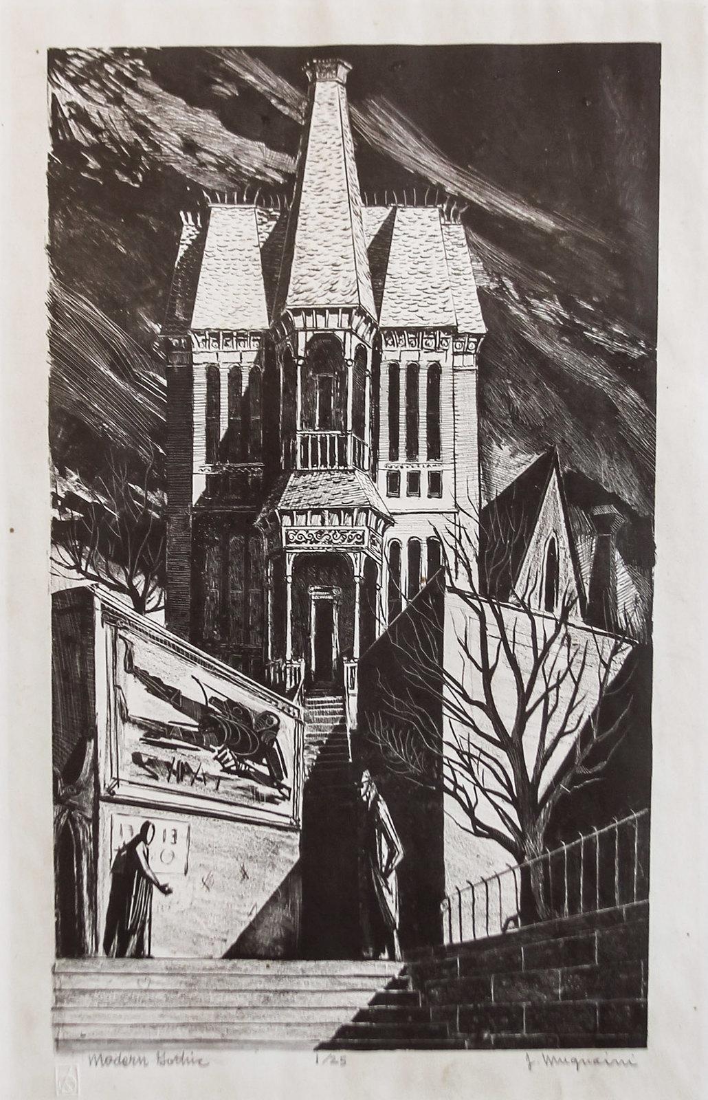 Joseph Mugnaini - Modern Gothic, 1952,  print