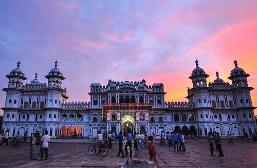 janakpur nepal dusk sunset temple np