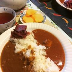 curry friday❤︎ #curry #muji #butterchicken #keema #kaki #persimmon #puertea #tea #カレー #無印良品 #バターチキン #キーマ#柿 #大阪 #プーアル茶 #osaka #japan