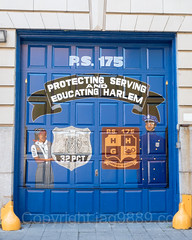 Garage Door Painting, NYPD Police Station Precinct 32, Central Harlem, New York City
