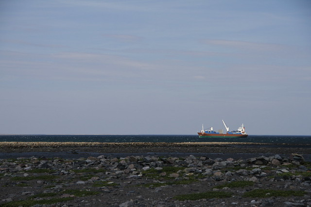 Fuel barge off the coast of Hudson Bay, near Arviat, Nunavut
