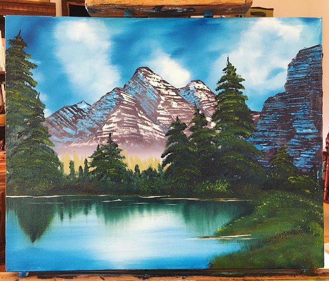 New way to do mountain shade. #bobross #painting #oilpainting