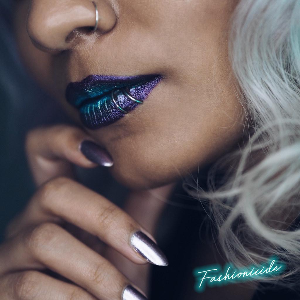 MUA Velvet Matte Metallic Green Purple Thanatos Lip Lacquers Medusa Look