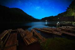 Bamboo raft on Pang Ung reservoir lake, Pang Ung Mae Hong Son province, Northern Thailand
