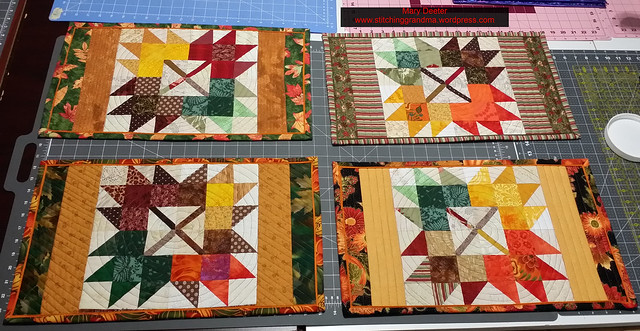4 finished Autumn Jubilee 2016 placemats