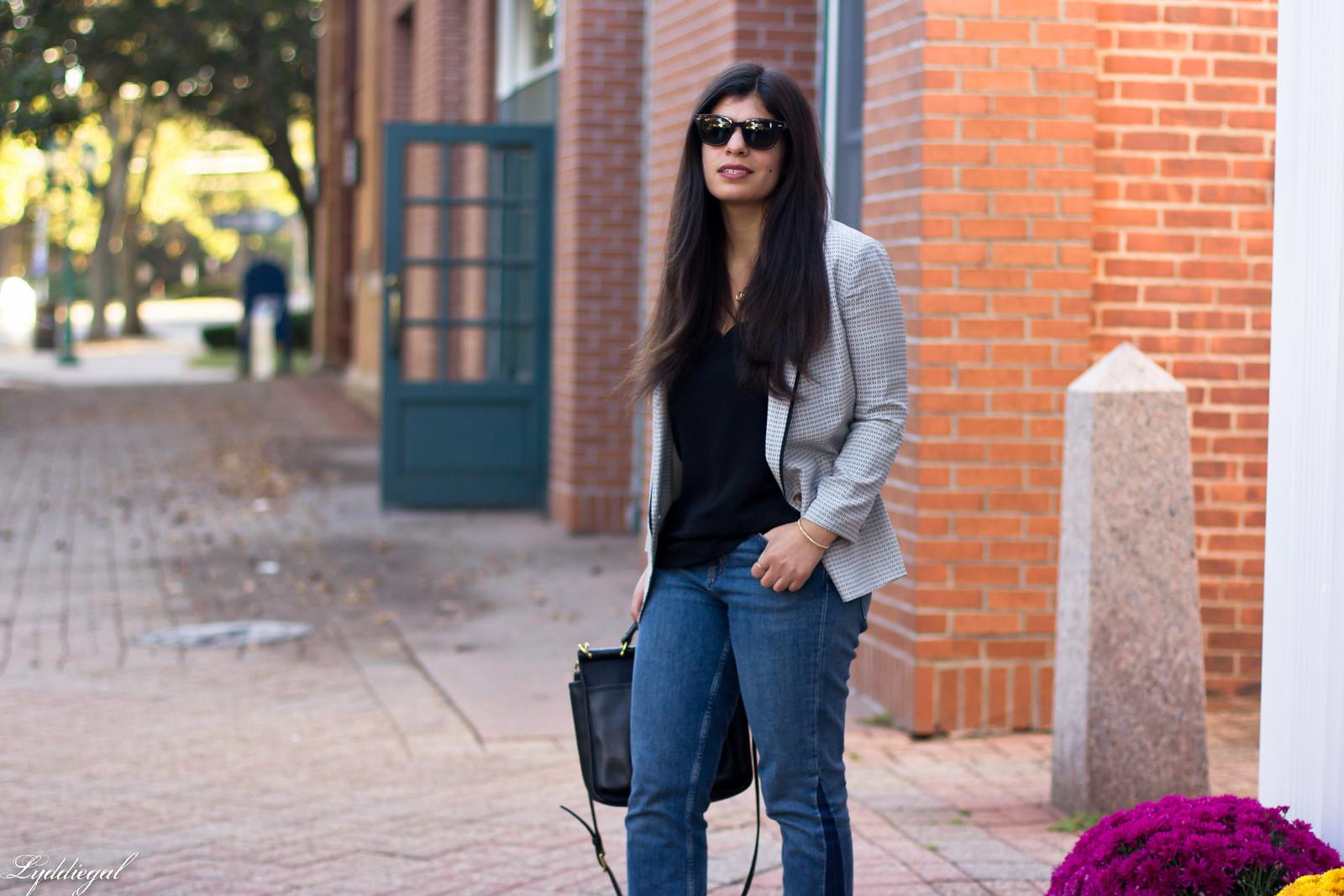 silk printed blazer, scalloped cammi, boyfriend jeans-6