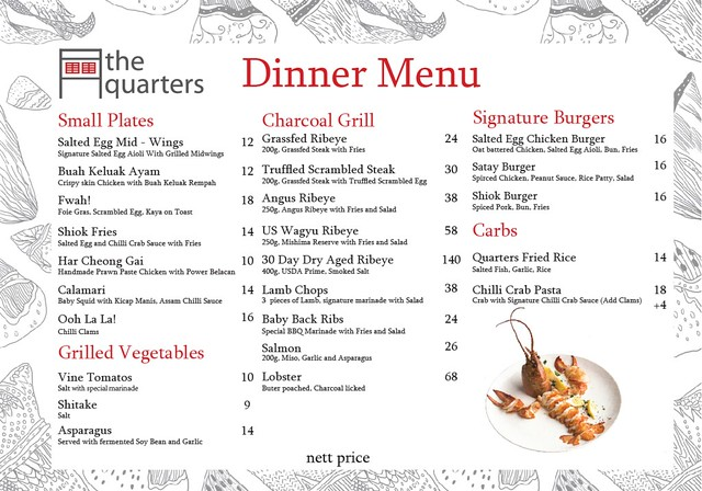 The Quarters 2017 Dinner Menu