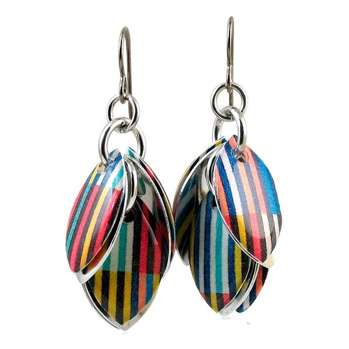 Tee Shirt Stripes Petals to the Metal Earrings by Diana Ferguson Jewelry