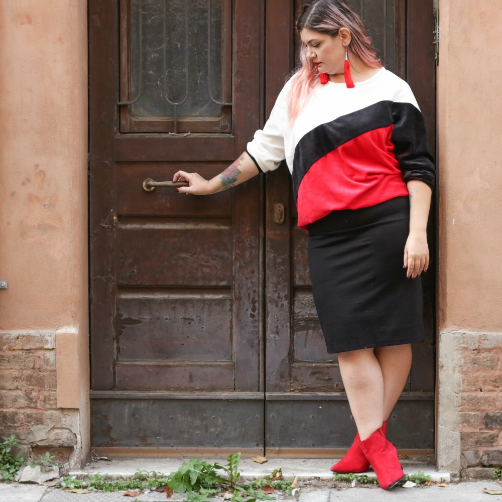outfit plus size, kik taglie comode, cappotto handmade riot clothing space (10)