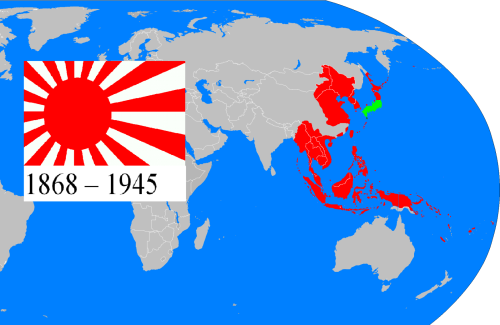 The Japanese Empire at its greatest extent.