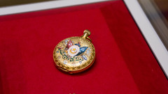Egypt-Turkey flags on a golden pocket watch at Egypt's Royal Jewelry Museum