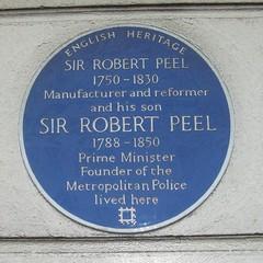 Photo of Robert Peel and Robert Peel blue plaque