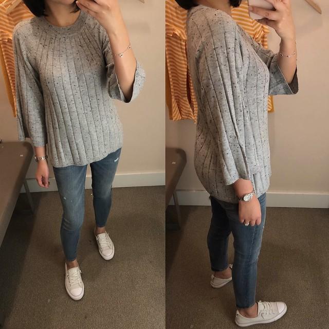LOFT Flecked Ribbed Swing Sweater, size XS regular