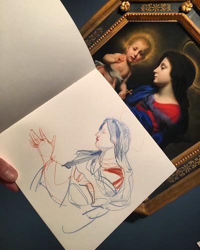 Sketching Carlo Dolci paintings at the Nasher Museum at Duke University.