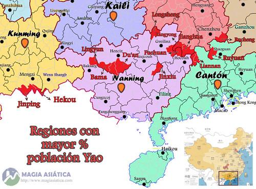 Mapa regiones Yao