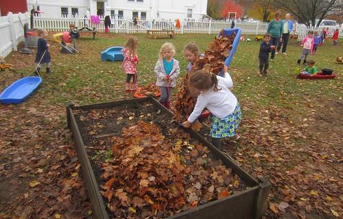 dumping the leaves